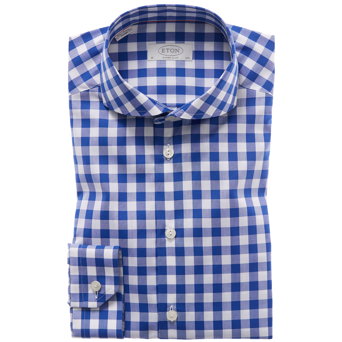 blue white check shirt eton