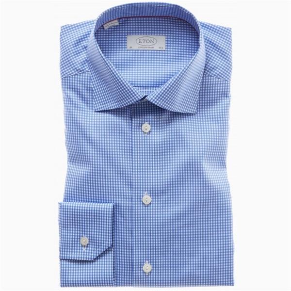 Blue white gingham checked dress shirt eton for Blue white dress shirt